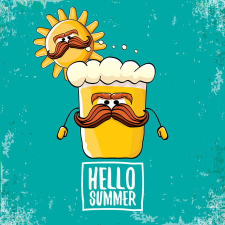 vector cartoon funky beer glass character and summer sun isolated on azure background. Hello summer text and funky beer concept illustration. Funny cartoon smiling friends.
