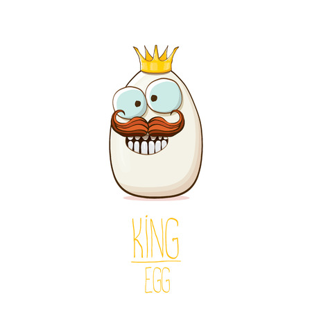 white egg king with crown cartoon characters isolated on white background. My name is egg vector concept illustration. funky farm food or easter king character with eyes and mouth Illustration