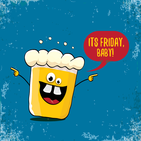 Its friday baby vector concept illustration with funky beer hand drawn character isolated on grunge blue background. happy friday vector background or poster
