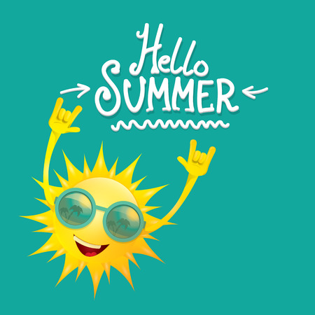 hello summer funky rock n roll vector label isolated on azure. summer party background with funky sun character design template. vector summer party poster Illusztráció