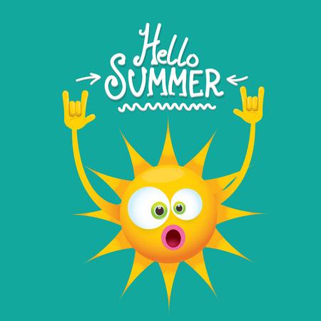 bonjour été étiquette de vecteur funky rock n roll isolé sur azur. fond de fête d'été avec modèle de conception de personnage de soleil funky. affiche de fête d'été de vecteur