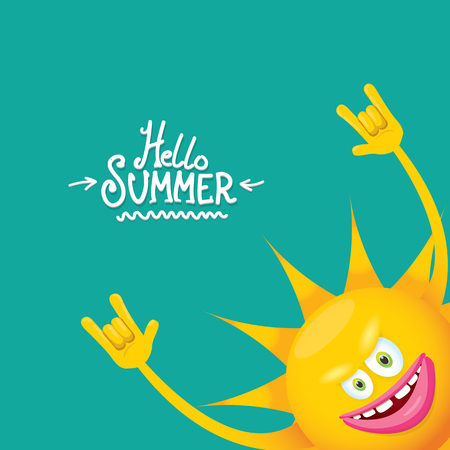 hello summer funky rock n roll vector label isolated on azure. summer party background with funky sun character design template. vector summer party poster Stock Illustratie