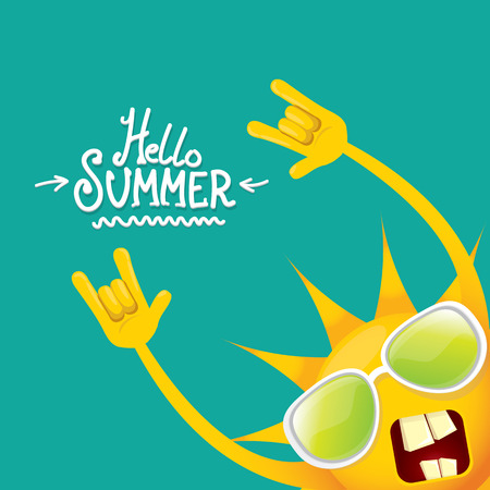 hello summer funky rock n roll vector label isolated on azure. summer party background with funky sun character design template. vector summer party poster Vettoriali