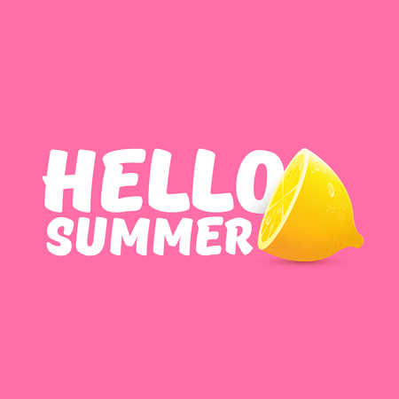 Vector Hello Summer Beach Party Flyer Design template with fresh lemon isolated on soft pink background. Hello summer concept label or poster with orange fruit and typographic text.