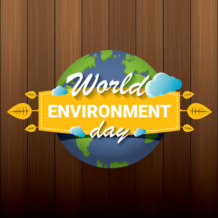 5 june celebration world environment day vector label or banner with earth globe isolated on wooden background