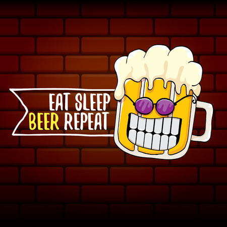 Eat sleep beer repeat vector concept illustration or summer poster. vector funky beer character with funny slogan for print on tee. International beer day label Vectores