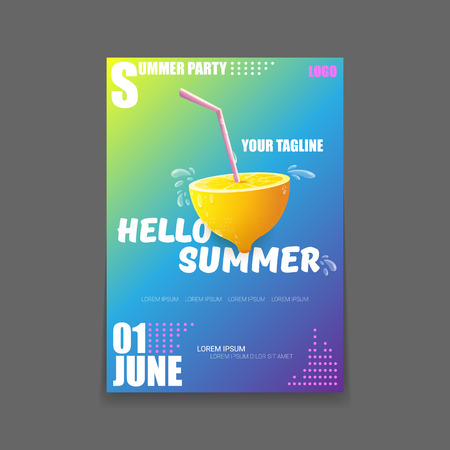 Vector Hello Summer Beach Party vertical A4 poster Design template or mock up with fresh lemon on gradient background. Hello summer concept label or flyer with orange fruit and typographic text.