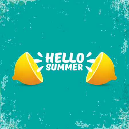 Vector Hello Summer Beach Party Flyer Design template with fresh lemon isolated on azure or torquoise background. Hello summer concept label or poster with orange fruit and typographic text.