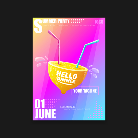 Vector Hello Summer Beach Party vertical A4 poster Design template or mock up with fresh lemon on pink and purple modern style gradient background. Hello summer concept label or flyer