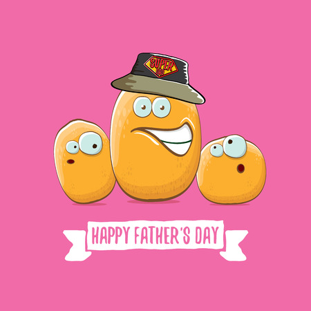 happy fathers day greeting card with cartoon father potato and kids . fathers day vector label or icon isolated on pink