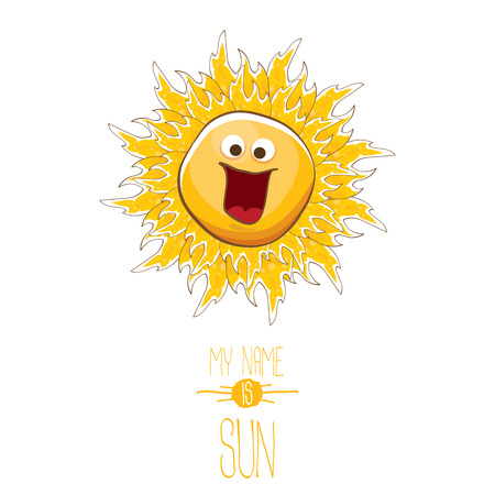 vector funky cartoon style summer sun character isolated on white background. My name is sun concept illustration. funky kids summer character with eyes and mouth