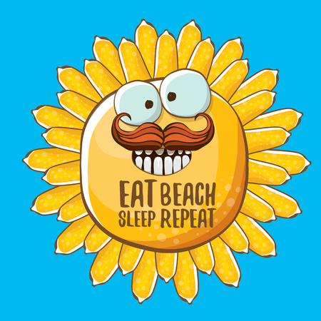 Eat sleep beach repeat vector illustration or summer poster. vector funky sun character with funny slogan for print on tee. summer party fun label or icon on blue sky background