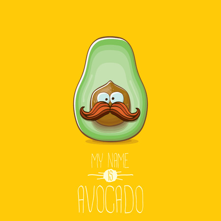 funny cartoon cute green avocado character isolated on orange background. My name is avocado vector concept. vector healthy summer fruit character