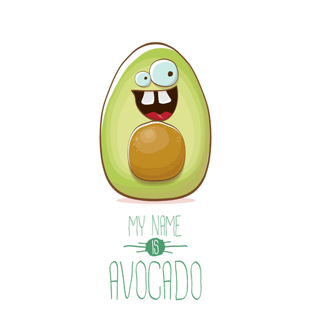 funny cartoon cute green avocado character isolated on white background. My name is avocado vector concept. vector healthy summer fruit character 矢量图像