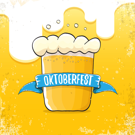 vector oktoberfest hand drawn label on beer background.Vintage graphic octoberfest poster, flyer or banner design template with beer