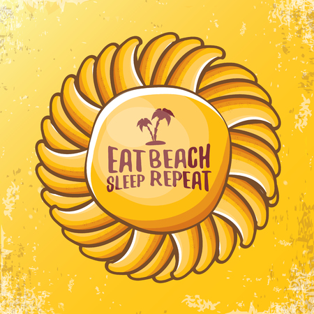 Eat sleep beach repeat vector concept illustration or summer poster. vector funky cartoon sun label with funny slogan for print on tee. Illustration