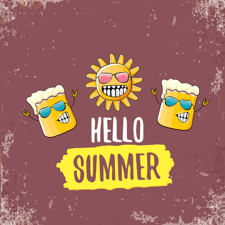 vector cartoon funky beer glass character and summer sun isolated on grungre brown background. Hello summer text and funky beer concept illustration. Funny cartoon smiling best friends. Illustration
