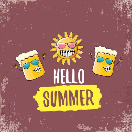 Vector de dibujos animados personaje de vaso de cerveza funky y sol de verano aislado sobre fondo marrón grungre. Hola texto de verano e ilustración de concepto de cerveza funky. Divertidos dibujos animados sonriendo a mejores amigos.