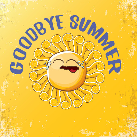 vector goodbye summer vector concept illustration with crying summer sun character on orange background. End of summer background