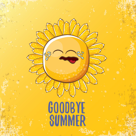 vector goodbye summer vector ccreative concept illustration with crying summer sun character on orange background. End of summer background Stock Photo