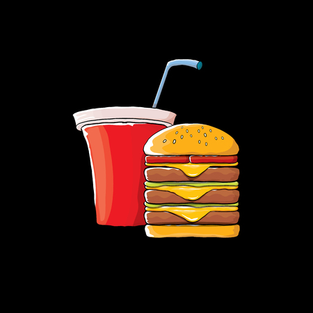 vector cartoon tasty burger and cola paper cup with straw isolated on black background.