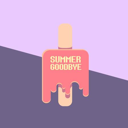 wektor pożegnanie lato wektor vintage ilustracja koncepcja z roztopić lody na tle nieba ultrafioletowego. Koniec lata w tle Ilustracje wektorowe