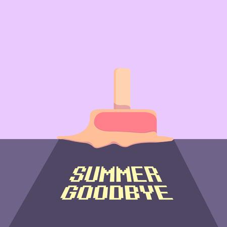 vector goodbye summer vector vintage concept illustration with melt ice cream on ultraviolet sky background. End of summer background