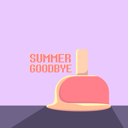 vector goodbye summer vector vintage concept illustration with melt ice cream on ultraviolet sky background. End of summer background Vektorové ilustrace