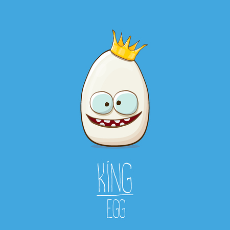white egg king with crown cartoon characters isolated on blue background. My name is egg vector concept illustration. funky farm food or easter king character with eyes Banque d'images - 114692977