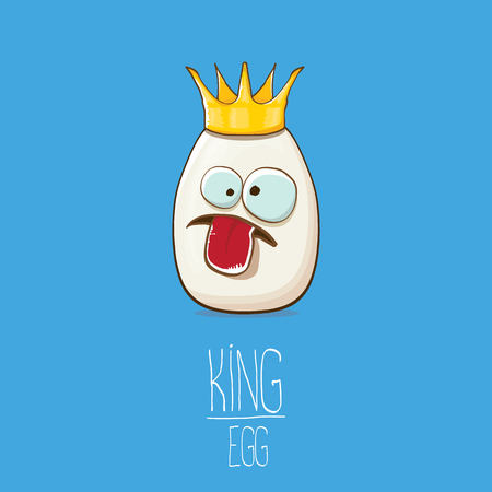 white egg king with crown cartoon characters isolated on blue background. My name is egg vector concept illustration. funky farm food or easter king character with eyes