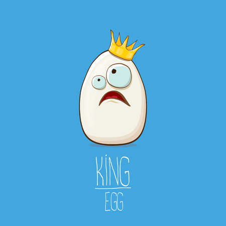white egg king with crown cartoon characters isolated on blue background. My name is egg vector concept illustration. funky farm food or easter king character with eyes Banque d'images - 114692982