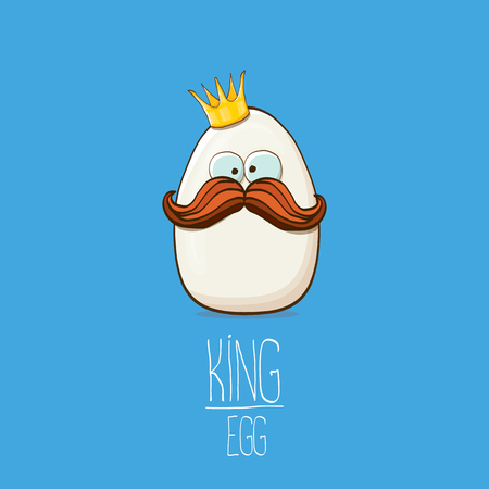 white egg king with crown cartoon characters isolated on blue background. My name is egg vector concept illustration. funky farm food or easter king character with eyes Banque d'images - 114692985