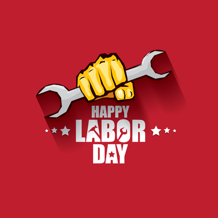 labor day Usa vector label or banner background. vector happy labor day poster or banner with clenched fist isolated on red . Labor union icon