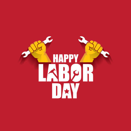 labor day Usa vector label or banner background. vector happy labor day poster or banner with clenched fist isolated on red . Labor union icon Ilustración de vector