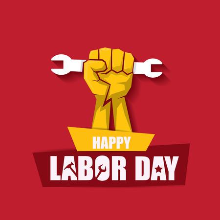 Arbeitstag USA Vektor-Label oder Banner Hintergrund. Vektor glücklicher Arbeitstag Plakat oder Fahne mit geballter Faust lokalisiert auf Rot. Gewerkschaftssymbol