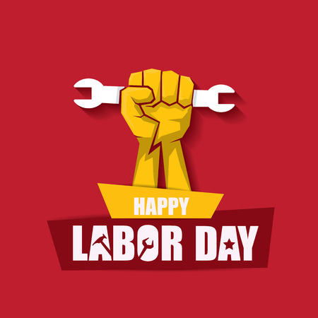 labor day Usa vector label or banner background. vector happy labor day poster or banner with clenched fist isolated on red . Labor union icon Stok Fotoğraf - 105482530