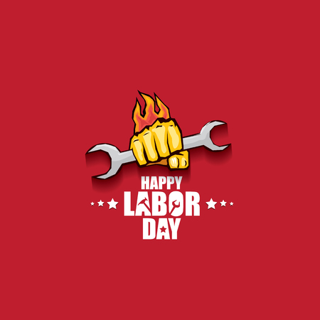 Arbeitstag USA Vektor-Label oder Banner Hintergrund. Vektor glücklicher Arbeitstag Poster oder Banner mit geballter Faust isoliert auf rot. Gewerkschaftssymbol