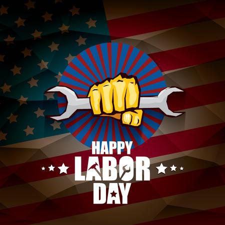 Arbeitstag USA Vektor-Label oder Hintergrund. Vektor glücklicher Arbeitstag Plakat oder Fahne mit geballter Faust lokalisiert auf USA-Flaggenhintergrund. Gewerkschaftssymbol Vektorgrafik