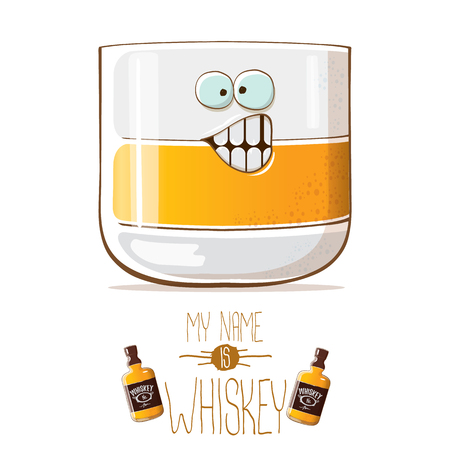 vector funny whiskey glass character isolated on white background. My name is whiskey vector concept. funky hipster alcohol character icon for bars label or menu 向量圖像