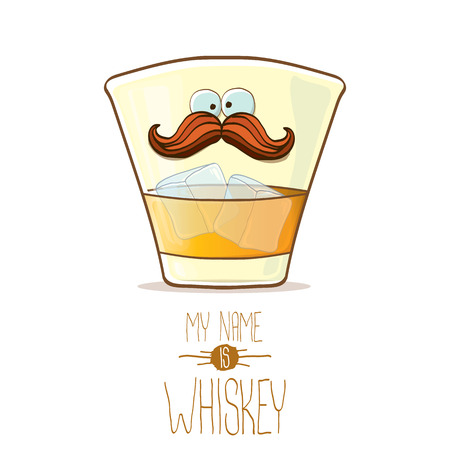 vector funny cartoon smiling whiskey glass character isolated on white background. My name is whiskey vector concept. funky hipster alcohol character icon for bars label or menu