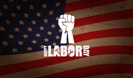 labor day Usa vector label or horizontal background. vector happy labor day poster or horizontal banner with clenched fist isolated on usa flag background . Labor union icon 向量圖像