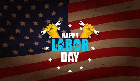 Día del trabajo Etiqueta de vector de Estados Unidos o fondo horizontal. Vector cartel de feliz día del trabajo o banner horizontal con puño cerrado aislado en el fondo de la bandera de Estados Unidos. Icono de sindicato laboral