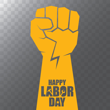 vector labor day Usa label or background. vector happy labor day poster or banner with clenched fist isolated on transparent background . Labor union icon 스톡 콘텐츠