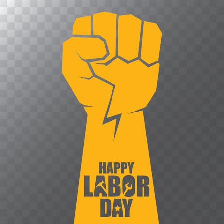 vettore labour day Usa etichetta o sfondo. poster o banner felice festa del lavoro di vettore con il pugno chiuso isolato su sfondo trasparente. Icona del sindacato