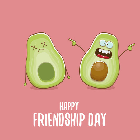 Happy friendship day cartoon comic greeting card with two avocado friends. Friendship day concept funky greeting card or party poster Vector Illustration