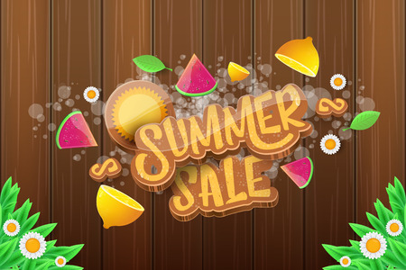 vector sammer sale horizontal banner with text, summer green grass, flying fresh lemons, flowers and slice of watermelon. Creative 3d summer shopping horizontal poster or label