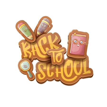 Retour à l'arrière-plan de caractères de vecteur de l'école avec des fournitures de dessin animé drôle comme un crayon, un livre, un sac, une gomme et un espace pour le texte. Vecteur de retour à l'étiquette de dessin animé d'école isolé sur blanc
