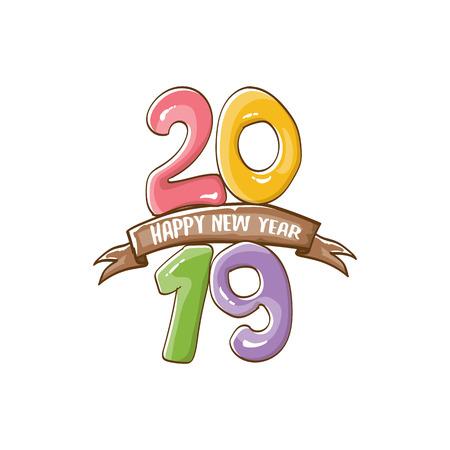 Modello di progettazione del manifesto di felice anno nuovo 2019. Illustrazione di saluto di felice anno nuovo vettoriale con numeri 2019 disegnati a mano colorati e stelle isolati su priorità bassa bianca