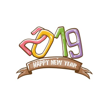 Modello di progettazione del manifesto di felice anno nuovo 2019. Illustrazione di saluto di felice anno nuovo vettoriale con numeri 2019 disegnati a mano colorati e stelle isolati su priorità bassa bianca Vettoriali