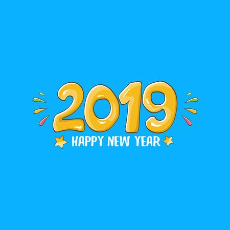 Modello di progettazione del manifesto di felice anno nuovo 2019. Illustrazione di saluto di felice anno nuovo vettoriale con numeri 2019 disegnati a mano colorati e stelle isolati su priorità bassa blu